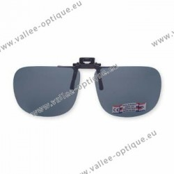 Polarized spring flip up glasses - metal mechanism - straight shape - grey green