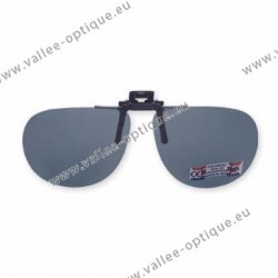 Polarized spring flip up glasses - metal mechanism - rounded shape - grey green