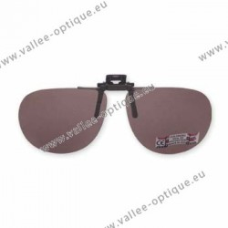 Polarized spring flip up glasses - metal mechanism - rounded shape - brown