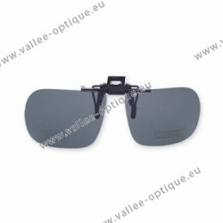 Polarized spring flip up glasses - plastic mechanism - straight shape - grey