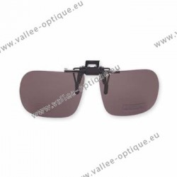 Polarized spring flip up glasses - plastic mechanism - straight shape - brown