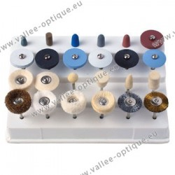 Set of 24 brushes, small wheels and buffs