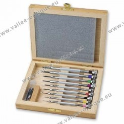 Set of screwdriver in wooden storage box