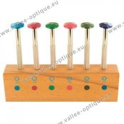 Assortiment de clés pour écrous sur socle avec tête tournante de couleur
