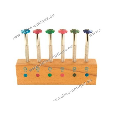 Set of nut wrenches on base with coloured rotating head