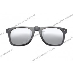 Polarized spring flip up glasses with plastic frame, miror silver lenses
