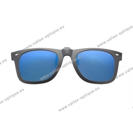 Polarized spring flip up glasses with plastic frame, miror blue lenses