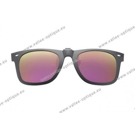Polarized spring flip up glasses with plastic frame, miror pink lenses