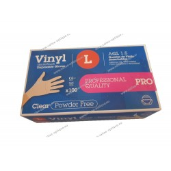 Powder-free vynil gloves, size M
